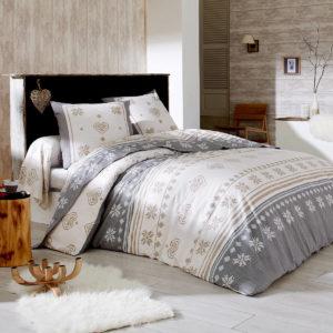 parure de lit blanche en coton SHETLAND