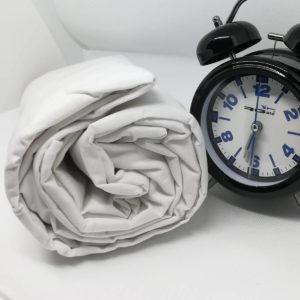 Drap housse en coton blanc 57 fils/cm²