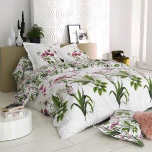 Parure de lit fleuri percale de coton ELEGANCE