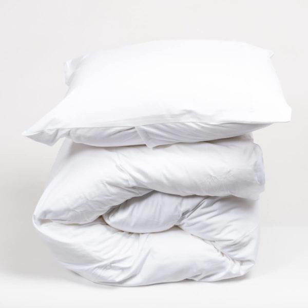 Housse de couette blanche en jersey de coton