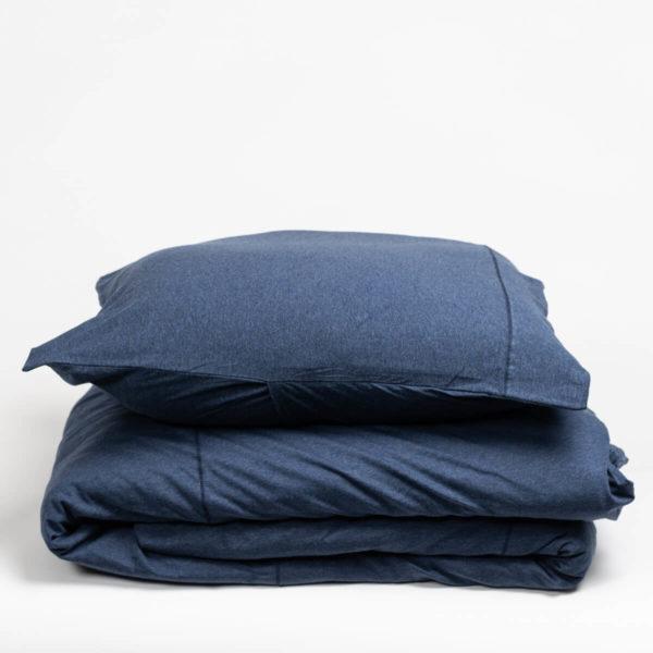 Housse de couette en jersey de coton bleu nuit