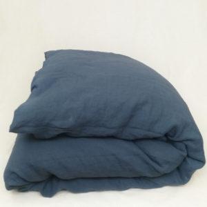 Housse de couette en lin couleur bleu nuit