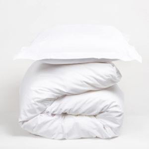 Housse de couette blanche en pur coton 80 fils/cm²