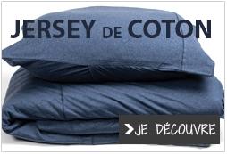 Linge de lit en jersey de coton, housse et drap
