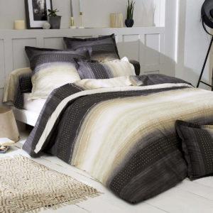 Parure de lit JAZZ GRIS en pure percale de coton peigné 80 fils/cm². Fabrication Française