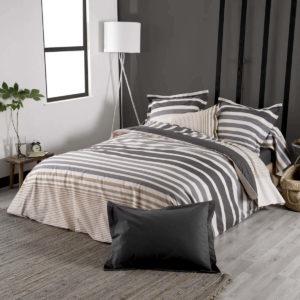 Housse de couette 200 x 200 réversible en percale de coton peigné, tissage fin et serré 80 fils/cm2.