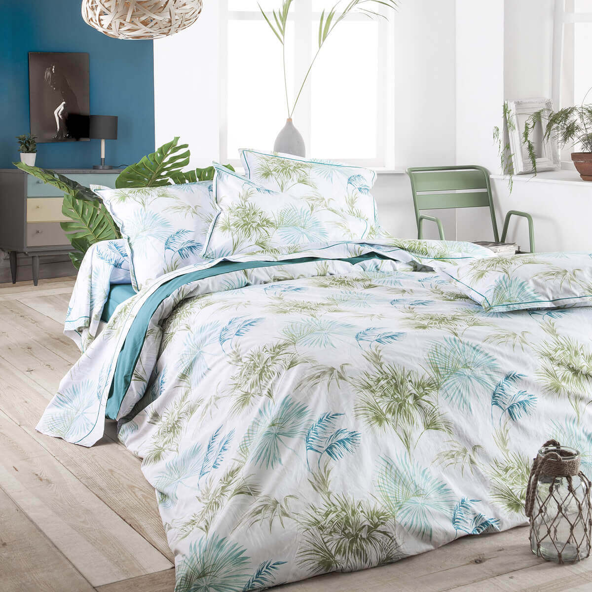 drap de lit percale tropical meraude linge de lit. Black Bedroom Furniture Sets. Home Design Ideas
