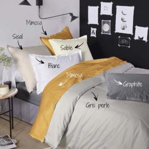 Linge de lit en satin de coton, housse de couette, drap de lit