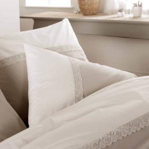 Taie d'oreiller IDYLLE Percale 100% coton, écru et beige. Taille 65x65 et 50x70 de Tradilinge
