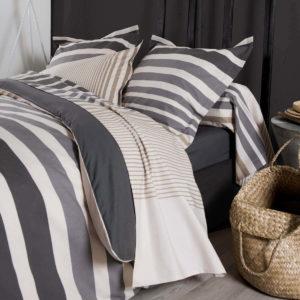 Taie d'oreiller Stripe ficelle réversible en percale coton 65x65 et 50x70 de Tradilinge