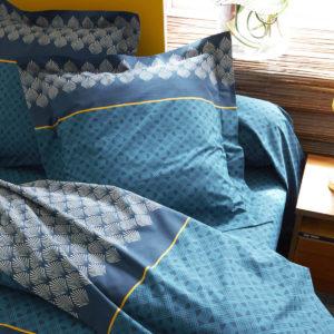 Taie d'oreiller Talisman Paon réversible en pur coton 65x65 et 50x70 de Tradilinge